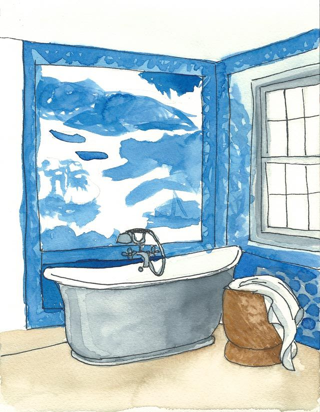 Acuarela decor blue Bath 18x24cm Elena Calonje