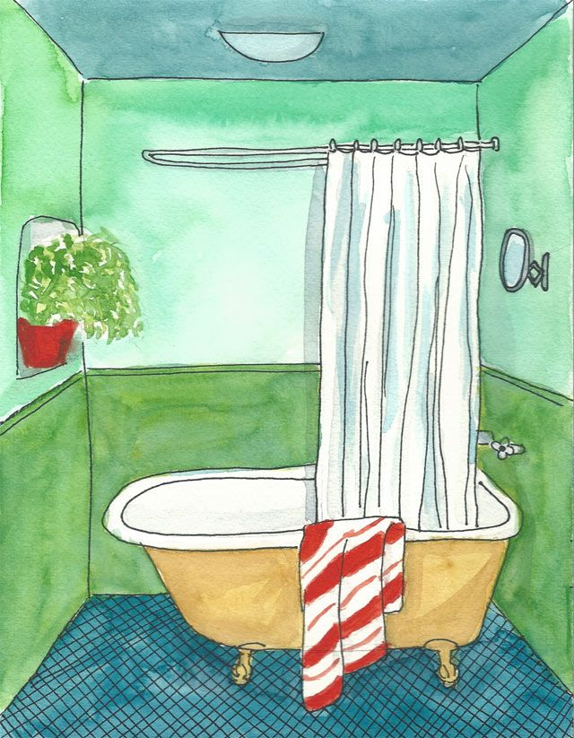 Acuarela Decor Bath Green 18x24 de Elena Calonje