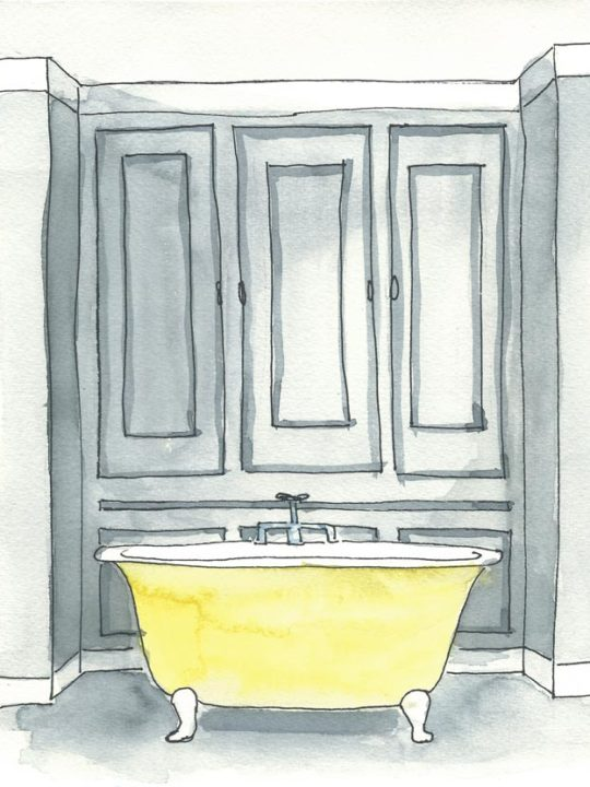 Acuarela Decor Bath Grey Yellow 18x24 de Elena Calonje