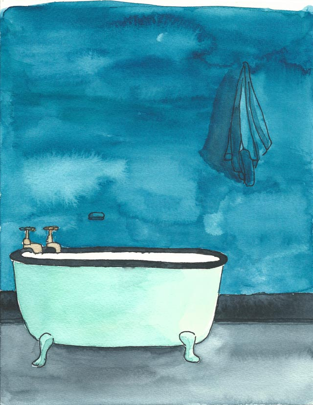 Acuarela Decor Bath Teal Blue 18x24 de Elena Calonje