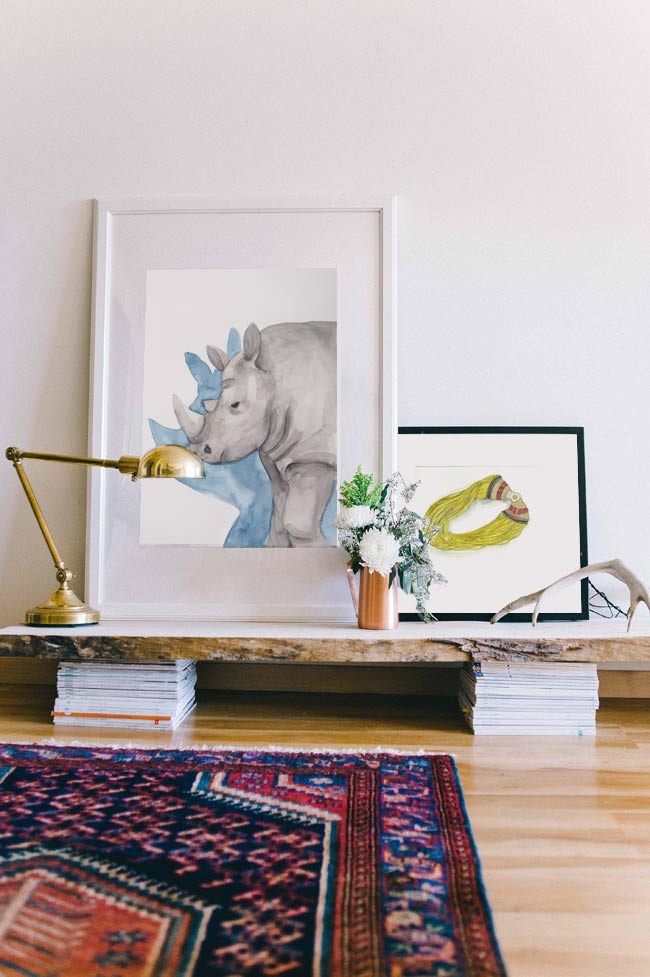 Acuarela Rinoceronte 50x70cm Serie Animales G de Elena Calonje