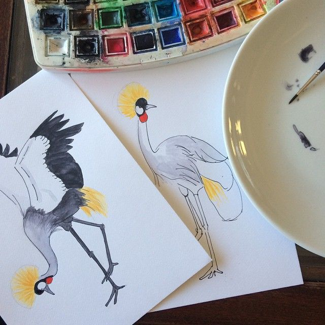 More Crowned Cranes watercolor by Elena Calonje