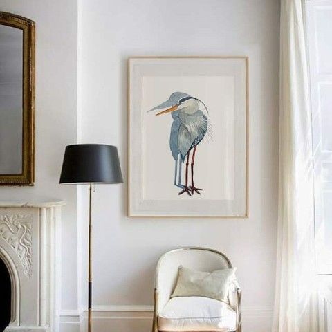 blue heron watercolor by elena calonje