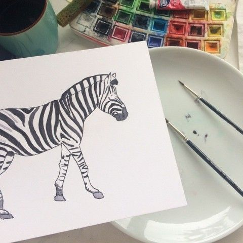 Zebra commision watercolor by elena calonje