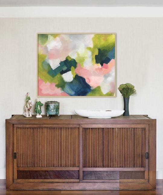 greenery 100x80 cm, Arte abstracto Acrílico sobre lienzo, 60x60x3,5cm, pintura de Elena Calonje
